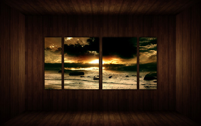 Amazing sunset on the wall wallpaper