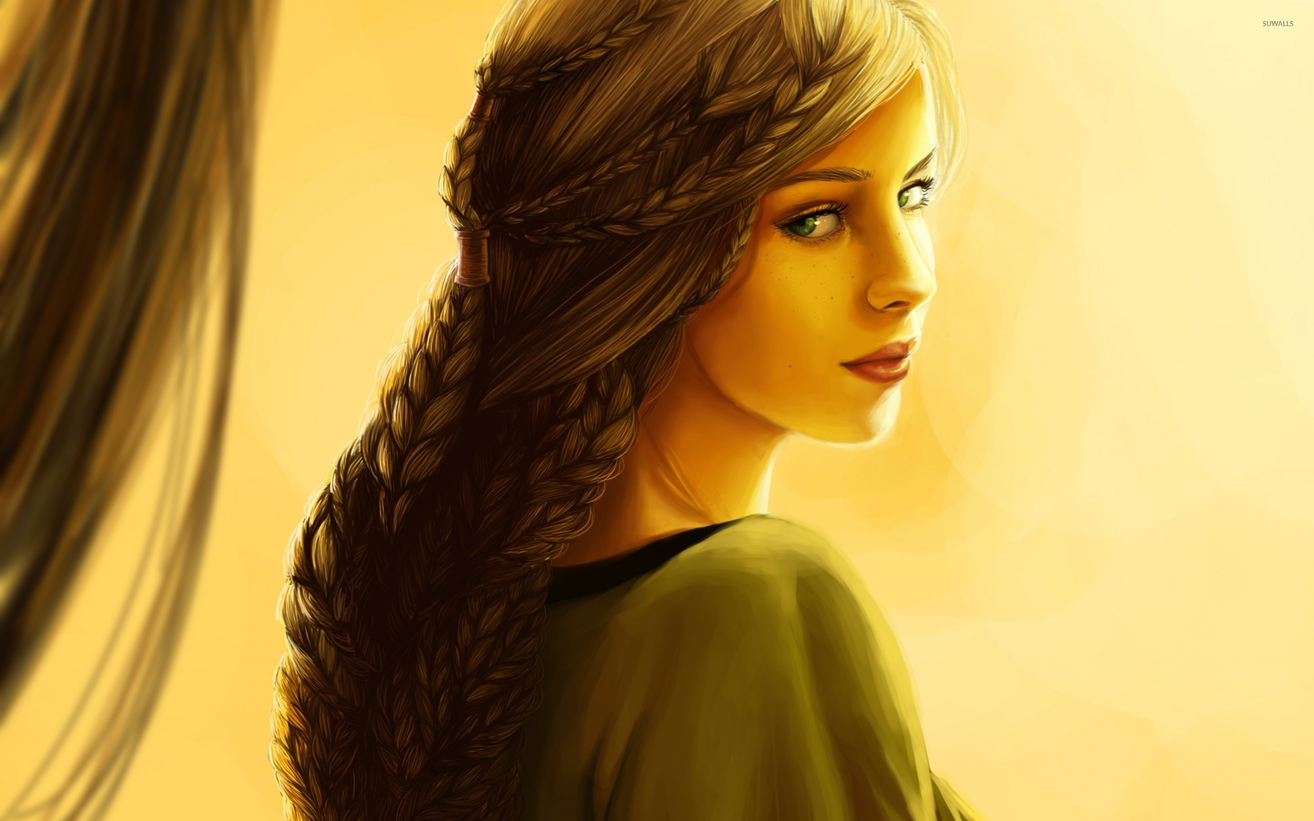 Beautiful Girl With Green Eyes Wallpaper Artistic Wallpapers 38713