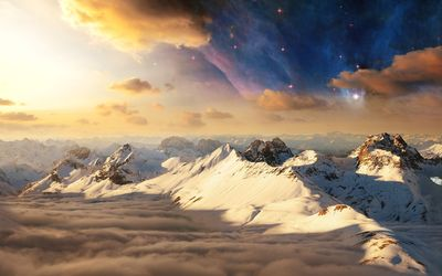 Beautiful nebula above the mountains wallpaper