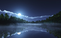 Beautiful night reflecting in the clear water wallpaper 3840x2160 jpg