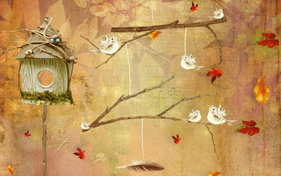 Bird house wallpaper