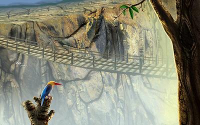 Bird overlooking the bridge wallpaper