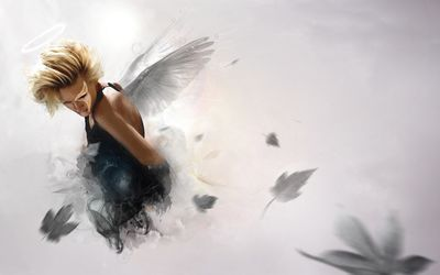 Blonde angel in dark clothes wallpaper