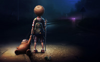 Boy & Teddy at Night wallpaper 1920x1200 jpg