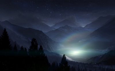Bright light in the mountain lake wallpaper