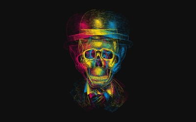 CMYK skull with top hat wallpaper