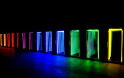 Colorful neon doors wallpaper