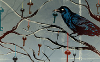 Crow on a branch with hanging keys wallpaper 2560x1440 jpg