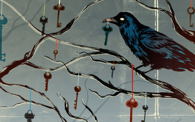 Crow on a branch with hanging keys wallpaper