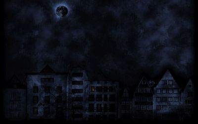 Dark moon over the dark city wallpaper