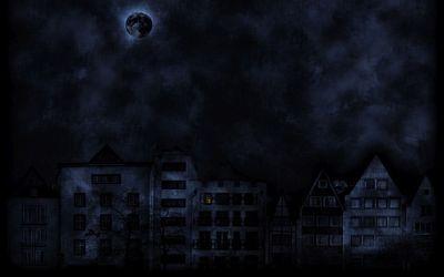 Dark moon over the dark city Wallpaper