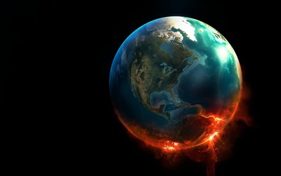 Earth burning on a side wallpaper