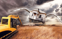 Excavator and a house with wings wallpaper 1920x1080 jpg