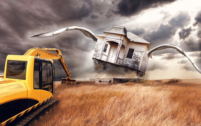 Excavator and a house with wings wallpaper