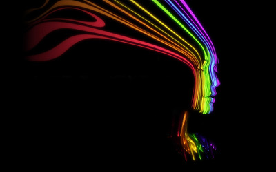 Face shaped rainbow lines wallpaper