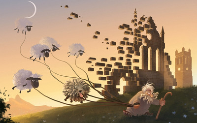 Flying sheep wallpaper