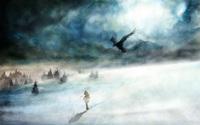 Girl in the snowstorm wallpaper 1920x1200 jpg