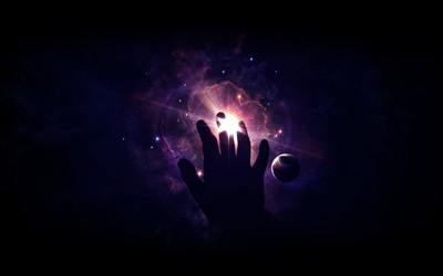 Hand in space wallpaper