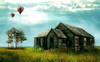 Hot air balloons above the ruined house wallpaper 1920x1200 jpg