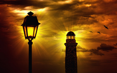 Lighthouse and street lamp wallpaper