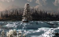 Lonesome tree on a snowy island in the mountain river wallpaper 1920x1200 jpg