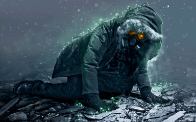 Man with a gas mask crawling wallpaper