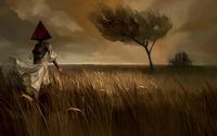 Masked woman on the field wallpaper 1920x1080 jpg