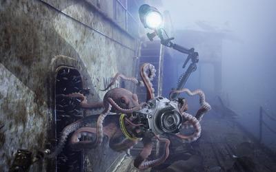 Octopus taking underwater photos wallpaper
