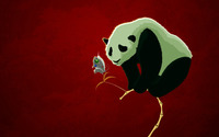 Panda and a robot butterfly wallpaper 1920x1200 jpg