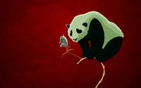 Panda and a robot butterfly wallpaper 1920x1200 jpg
