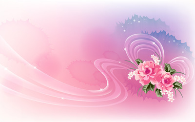 Pink roses on translucent ribbon wallpaper