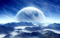 Planet in the sky above the mountains wallpaper 1920x1080 jpg