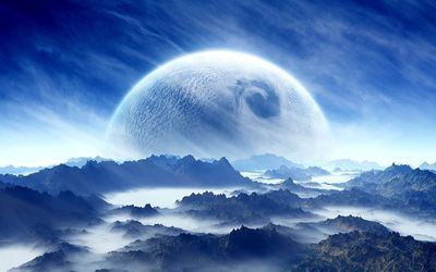 Planet in the sky above the mountains wallpaper