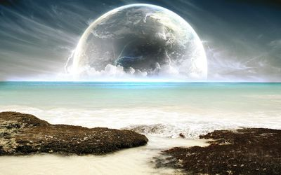 Planet rising in the horizon Wallpaper