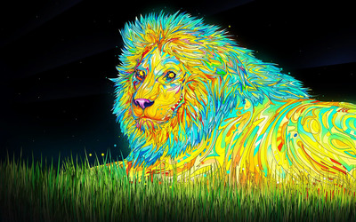 Psychoactive lion wallpaper