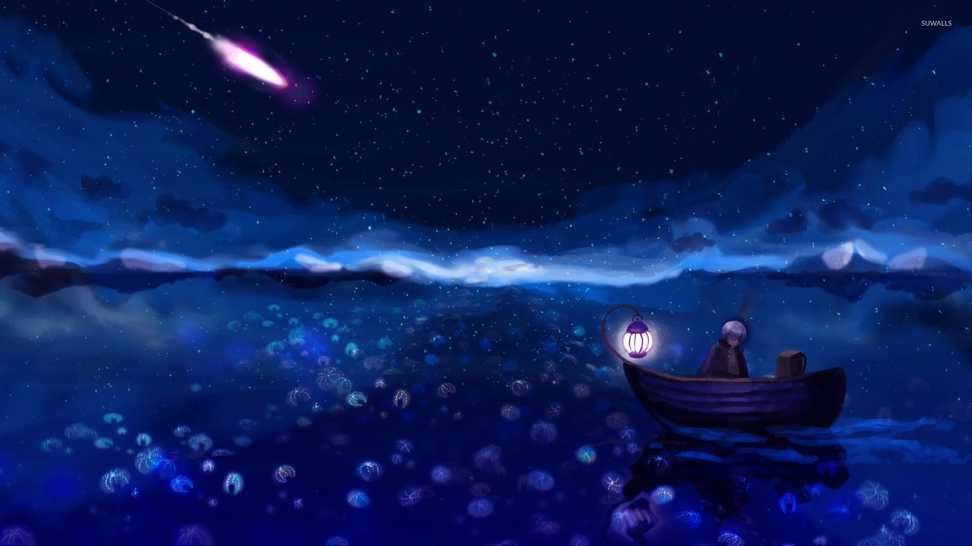 Rowboat On The Dark Sea Wallpaper Artistic Wallpapers 19212