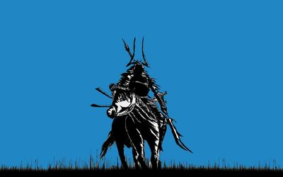 Samurai on a horse wallpaper