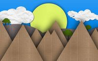 Sun and mountains made from cardboard wallpaper 1920x1080 jpg