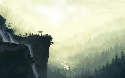 Torii on mountain peak wallpaper