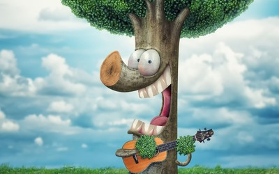Tree playing the guitar wallpaper