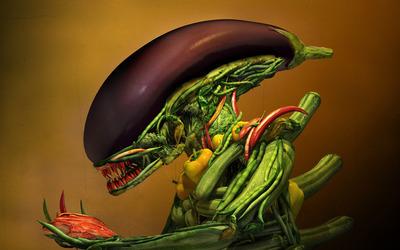 Vegetable alien wallpaper