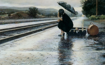Waiting for the train in the rain wallpaper
