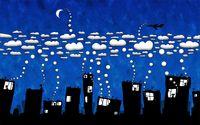 White clouds over the dark city wallpaper 1920x1200 jpg