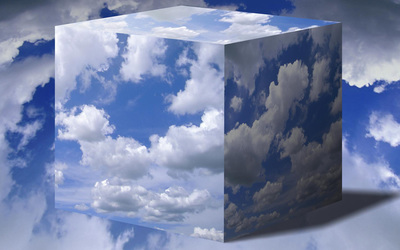 White fluffy clouds in a cube Wallpaper