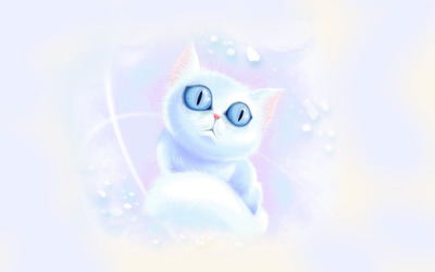 White kitten with blue eyes wallpaper
