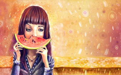 Woman eating a watermelon wallpaper