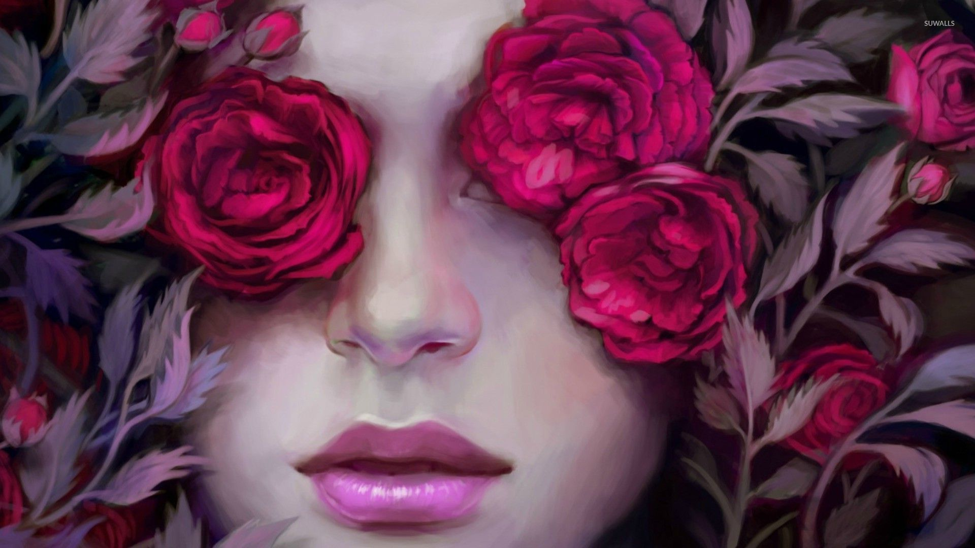 Woman Hiding Behind Pink Roses Wallpaper 1920x1080 Jpg