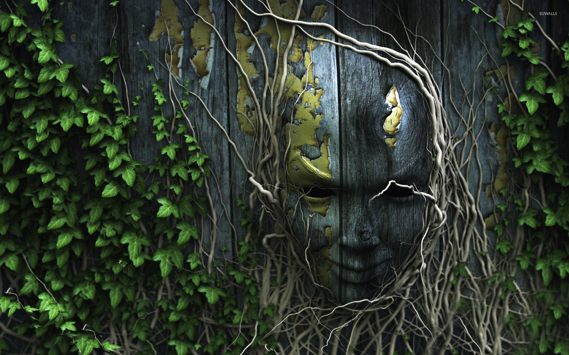 Wooden mask wallpaper artistic wallpapers 19489 for 3d wood wallpaper
