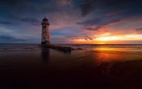 Abandoned lighthouse with a great view of the ocean sunset wallpaper 1920x1200 jpg