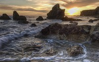 Amazing golden sunset above the rocky beach wallpaper 1920x1080 jpg